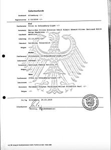 Prince Mario Max zu Schaumburg-Lippe birth certificate