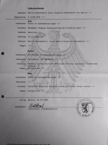 Prince Waldemar Birth Certificate, Mother Princess Feodora of Denmark (Dänemark)