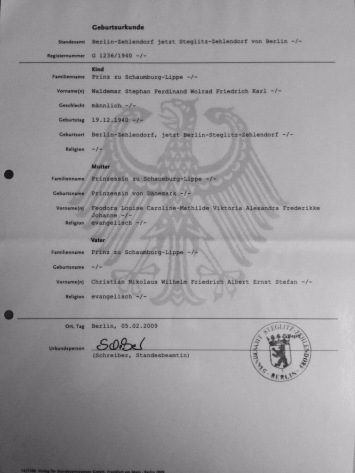 Prince Waldemar Birth Certificate, Mother Princess Feodora of Denmark (Dänemark)