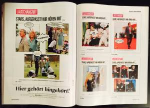 Prince Mario-Max Schaumburg-Lippe with Prince Charles Windsor, Duchess Camilla Cornwall, Robbie Williams, Donantella Versace and Mickey Rourke in Red Bull Celeb Magazine
